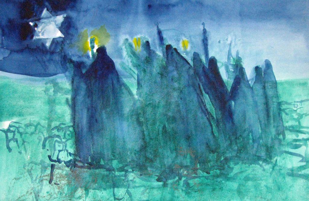 Herders op weg naar Bethlehem